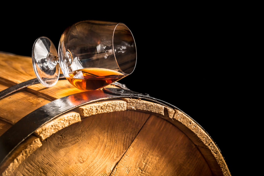 whisky barrel and glass